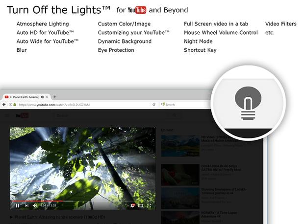 Turn Off the Lights для выделения видео на сайте