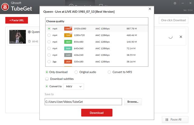 Легкий выбор формата видео в приложении Gihosoft TubeGet Pro