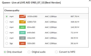 Выбор типа скачиваемого видео-файла