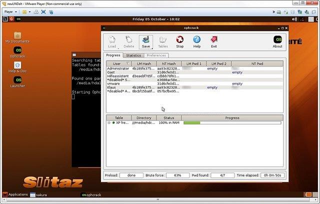 Linux дистрибутив Ophcrack LiveCD