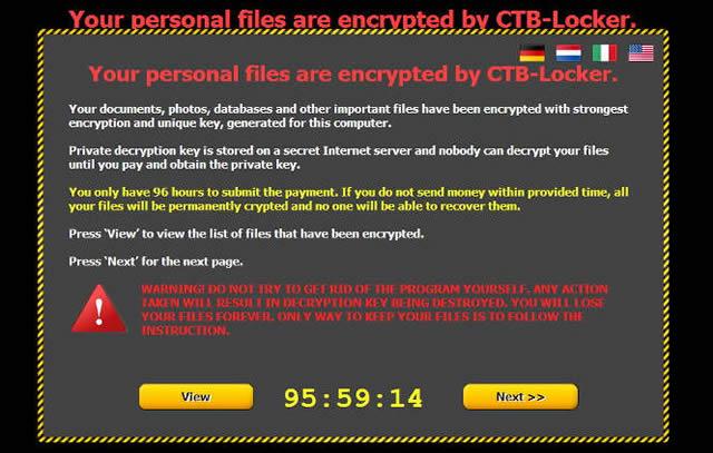 Сообщение после блокировки компьютера вирусом CTB-Locker