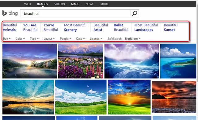 Фильтры графики в Bing, которые всегда под рукой, в Google скрыты