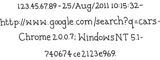 Запись в журнале поиска Google