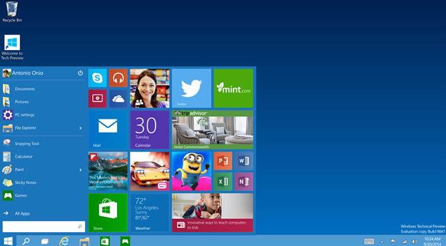 Рабочий стол Windows 10 с обновленным меню Пуск