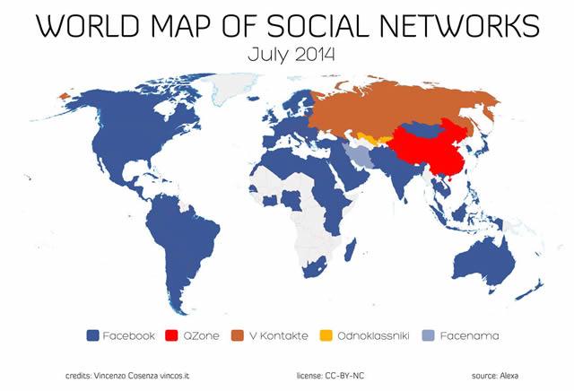 Карта распространения социальных сетей в мире