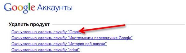 Удаление Gmail из аккаунта Google