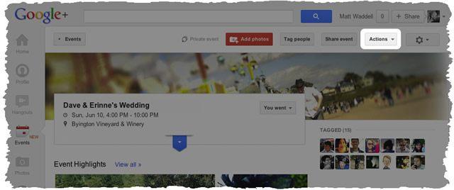 Действия над событиями в Google+