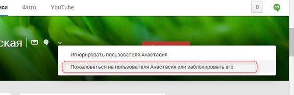 Блокировка пользователя Google Plus