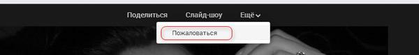 Кнопка пожаловаться на фотографию в Google Plus