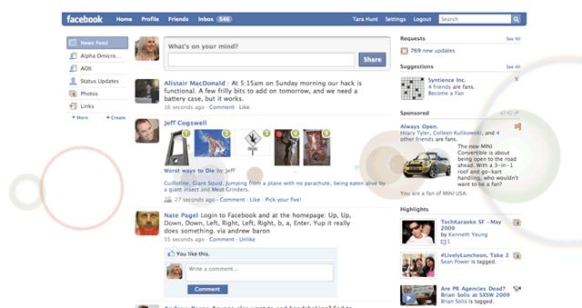 Главная страница хроники пользователя Facebook
