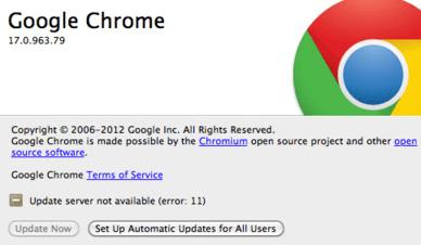 Браузер Google Chrome сообщает об ошибке 11