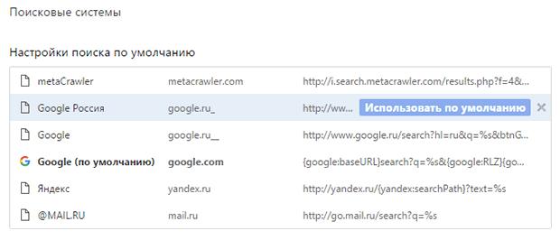Установка поисковой системы используемой в Google Chrome по умолчанию