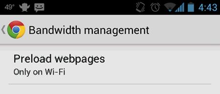 Функция предварительной загрузки страниц сайтов в Google Chrome для Android