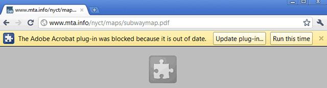 Сообщение браузера Google Chrome об устаревшем плагине