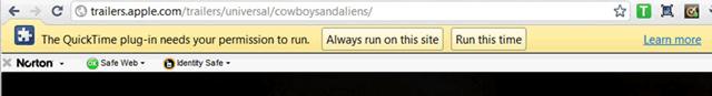 Запрос на установку плагина QuickTime для браузера Google Chrome