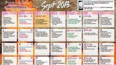 Канал Blogilates публикует календари тренировок со ссылками на YouTube