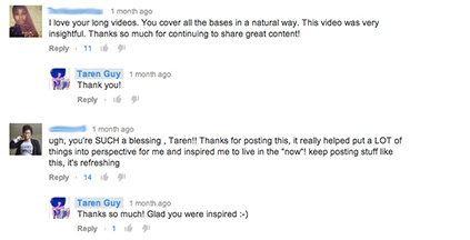 Taren Guy активно отвечает на комментарии зрителей