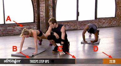 Визуальные элементы в видео канала Livestrong помогают выполнять упражнения