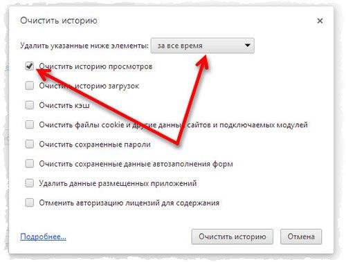 Окно очистки истории использования браузера Google Chrome
