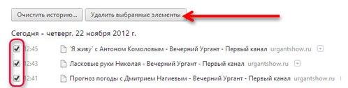 Удаление выбранных элементов из истории браузера