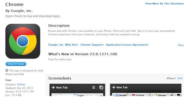 Страница загрузки браузера Google Chrome для iOS