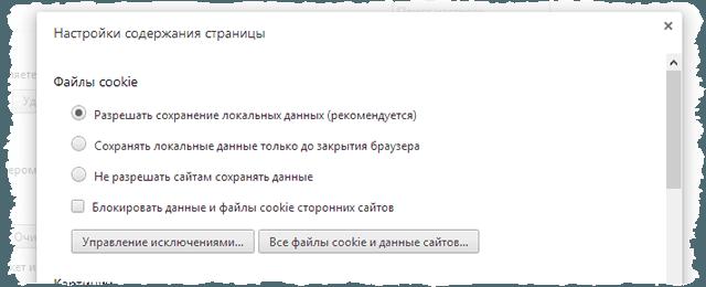 Включение cookie-файлов в браузере