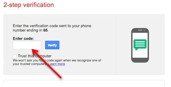 Ввод резервного кода для Google