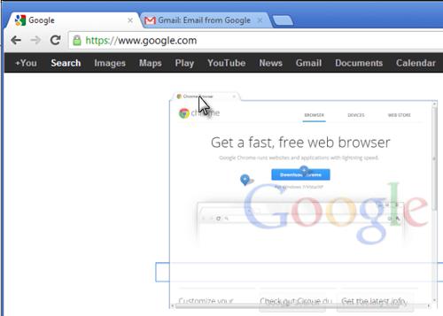 Перемещение вкладки в браузере Google Chrome