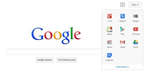 Элементы нового интерфейса Google