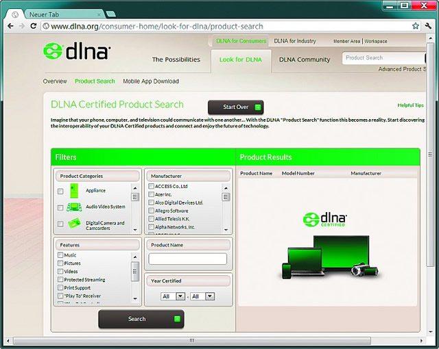 На веб-сайте организации DLNA доступен поиск оборудования, поддерживающего ее стандарт