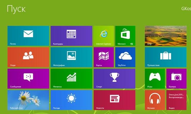 Плиточный интерфейс Windows 8
