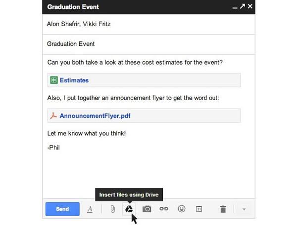 Gmail, добавление из Google Drive