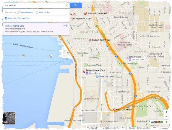 Новый интерфейс Google Maps