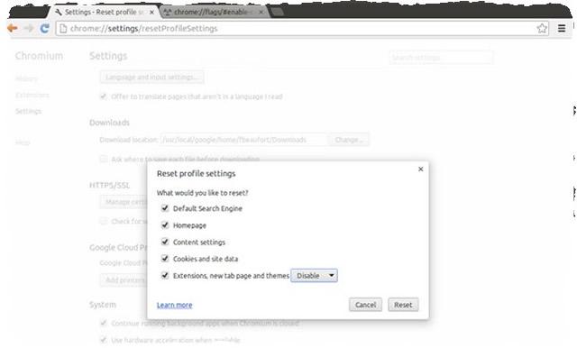 Сброс настроек профиля Google Chrome
