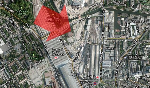 Место строительства штаб-квартиры Google в Лондоне