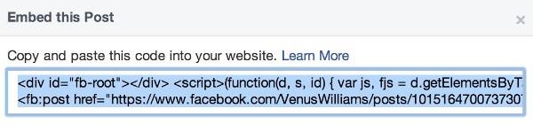 Встраивание сообщений с Facebook
