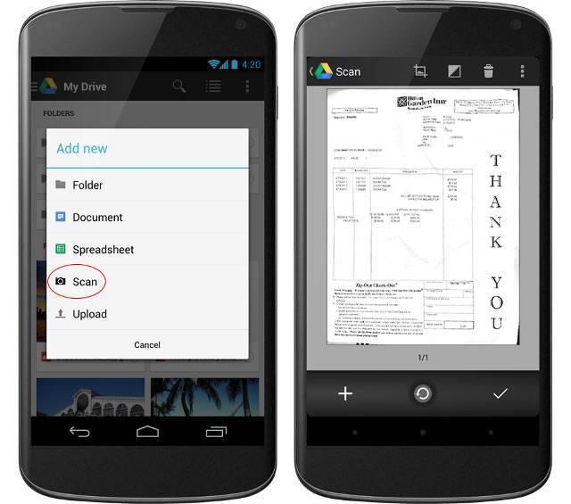 Сканирование - новая функция в Диске Google для Android
