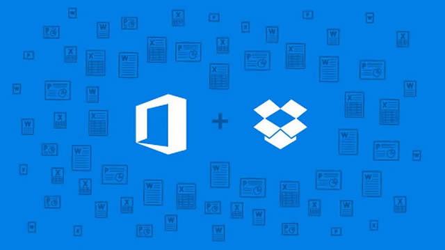 Логотипы Microsoft Office и Dropbox – слияние