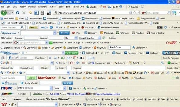 Замусоренная панель инструментов браузера