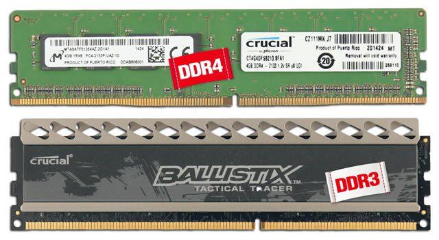 Сравнение модулей оперативной памяти компьютера DDR4 и DDR3