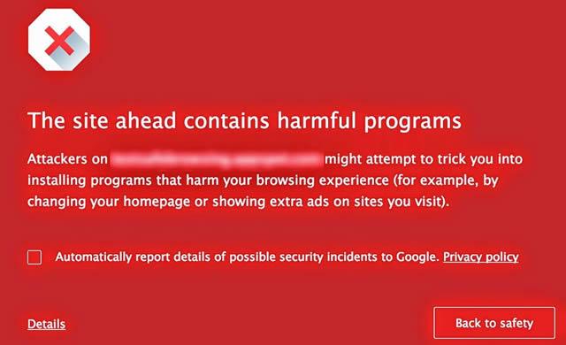Новый экран предупреждения об опасности в Google Chrome