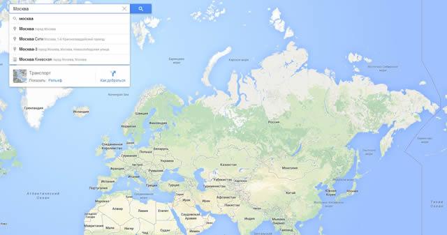 Карты Google: в центре Россия