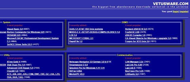 Архив устаревших приложений на сайте VetusWare