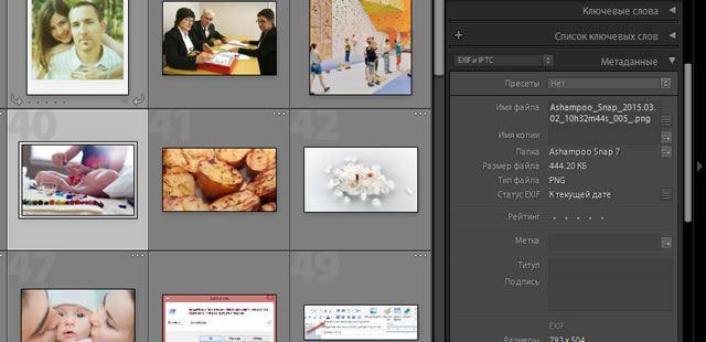 Панель метаданных файлов в Adobe Lightroom