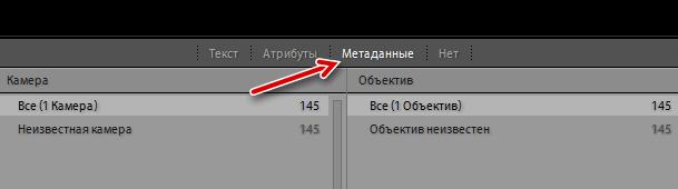 Переход на закладку поиска файлов по метаданным в Adobe Lightroom