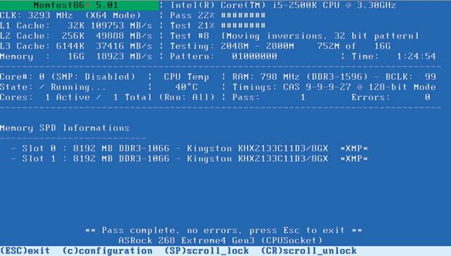 Результат тестирования оперативной памяти программой Memtest86+