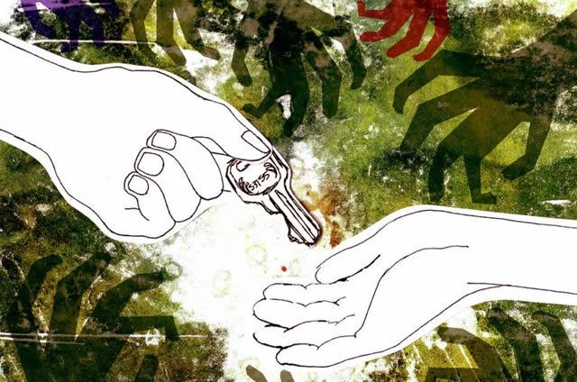 Передача зашифрованных данных из рук в руки с помощью ключа