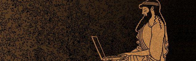 Греческий составитель мифов работает за ноутбуком