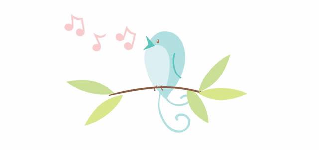 Птичка символ Twitter поет песенку