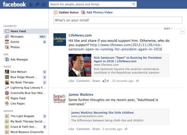 Новостная лента Facebook будет формироваться по новому алгоритму